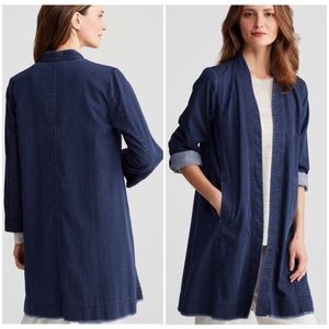 Eileen Fisher Organic Denim Knee Length Jacket L